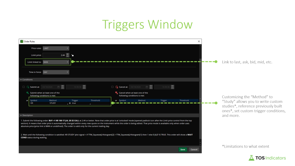 Automated Trading Triggers Window Description by TOS Indicators