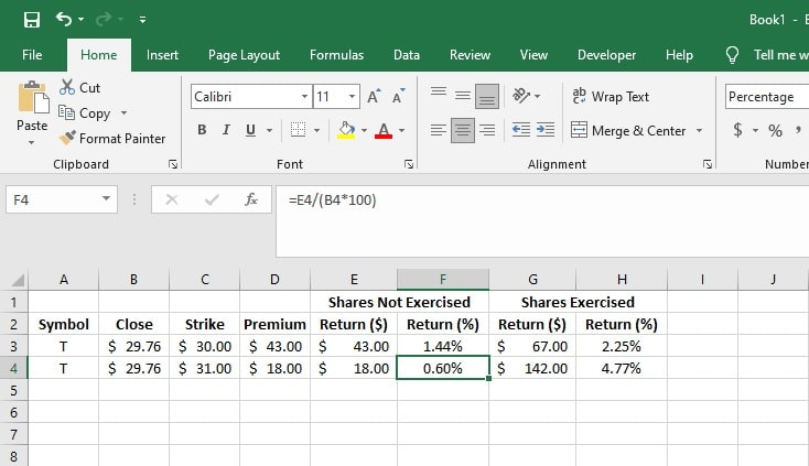 Covered call calculator in Excel